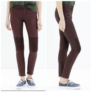 Madewell Maroon Skinny Skinny Coated Moto Jeans